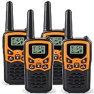 Rivins RV-7 Walkie Talkies for Adults Long Range 4 Pack 2-Way Radios Up to 5 Miles Range in Open Field 22 Channel FRS/GMRS Walkie Talkies UHF Handheld Walky Talky (Black/Orange)