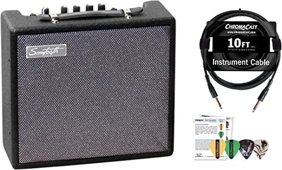 Sawtooth 10-Watt Electric Guitar Amp with Instrument Cable & Pick Sampler
