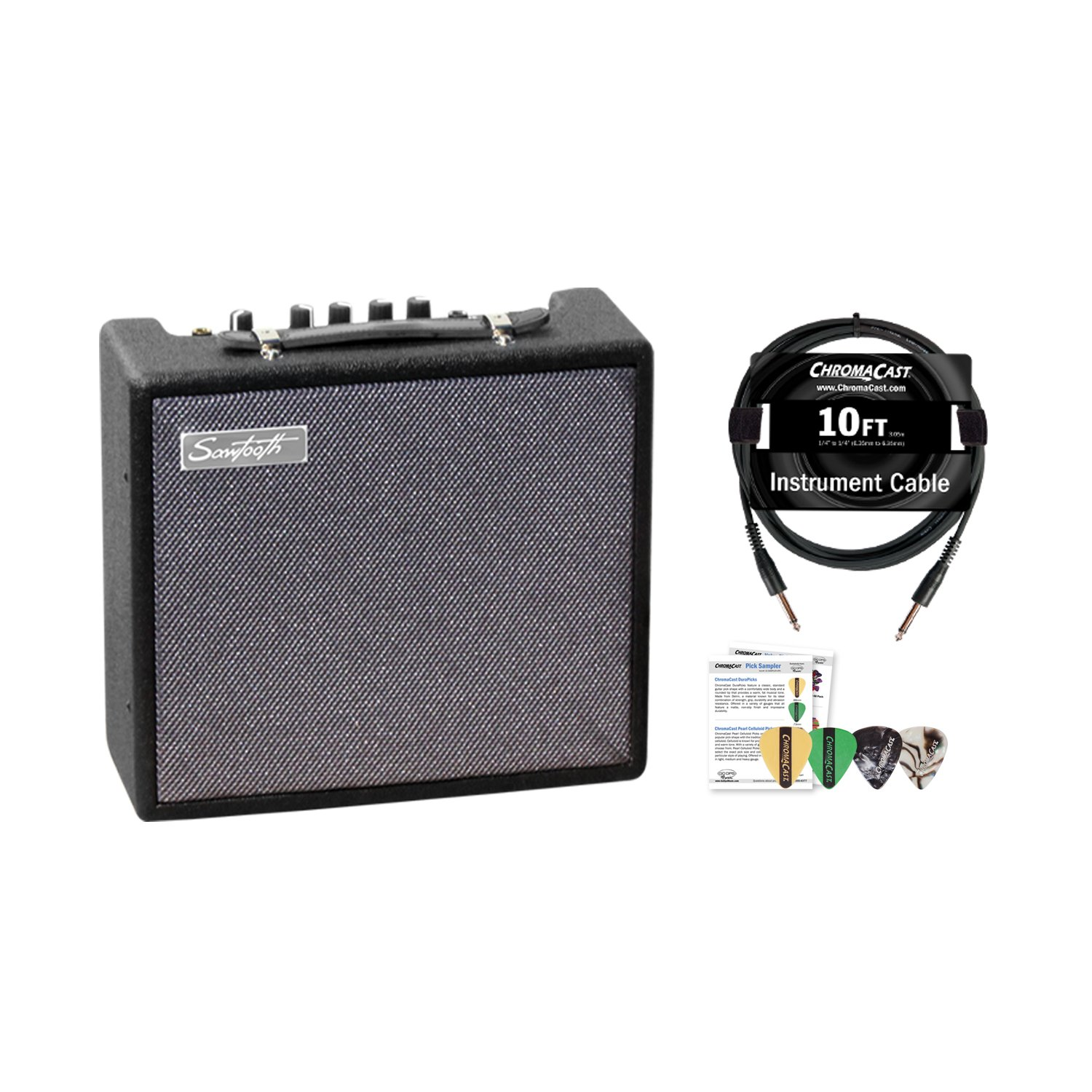 Sawtooth ST-AMP-10-KIT-1ST-AMP-10-KIT-1 10-Watt Electric Guitar Amp with Pro Series Cable and Pick Sampler by Sawtooth