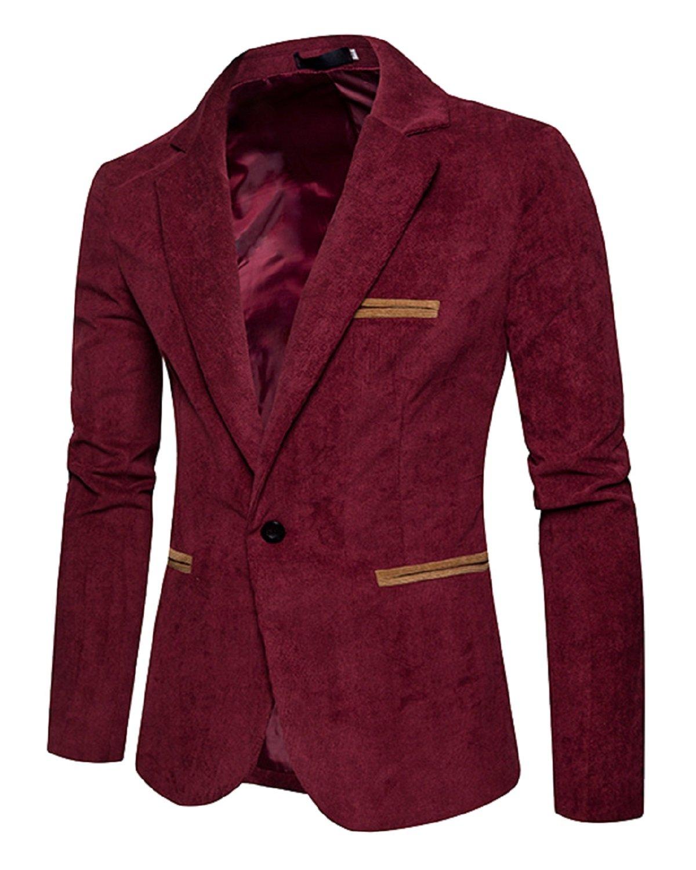 Men's Long Sleeve Regular Fit Corduroy Lapel Casual Blazer Jacket One Button Coat