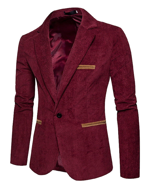 [Upgraded] Men's Long Sleeve Regular Fit Corduroy Lapel Casual Blazer Jacket One Button Coat HC1805051