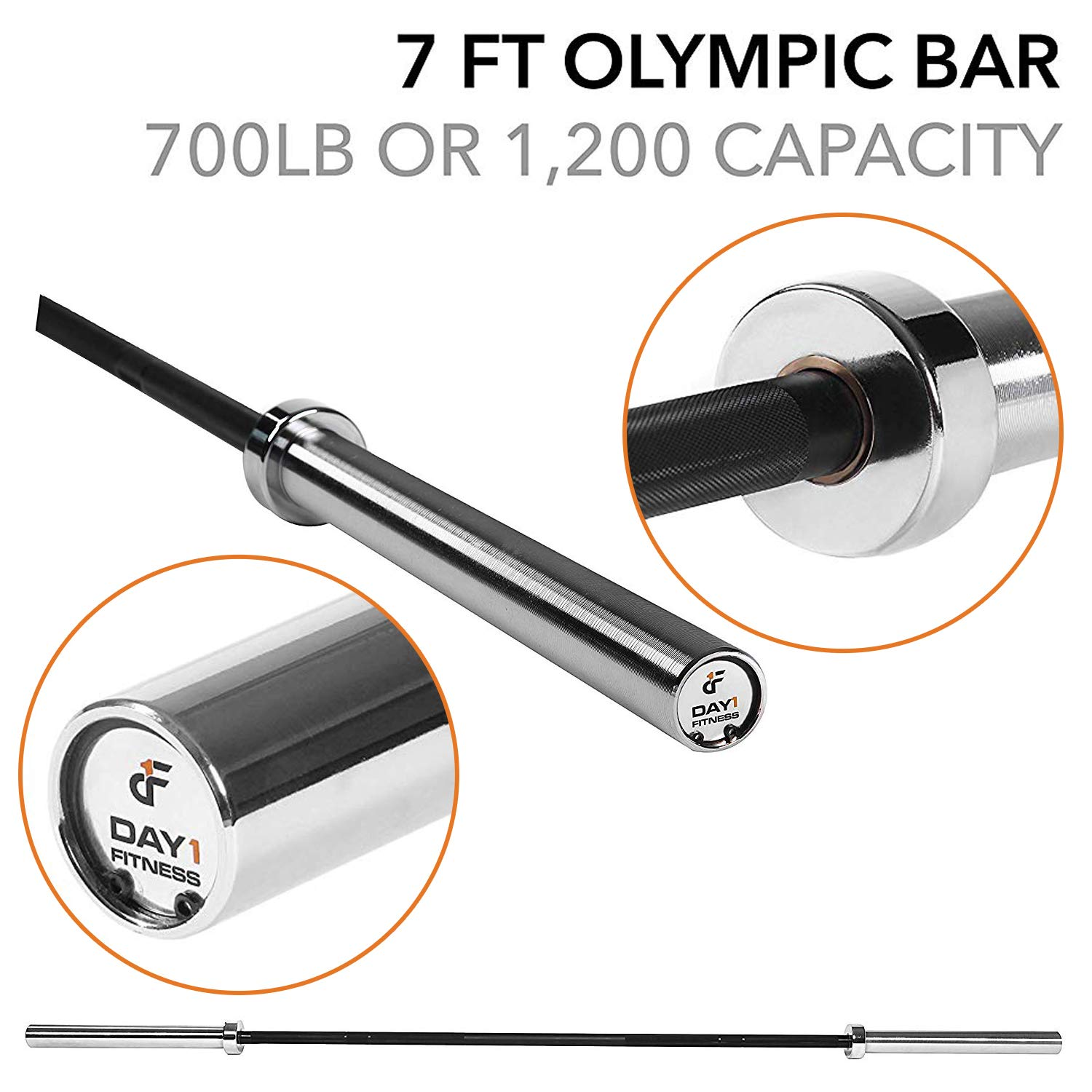 """Olympic Barbell – 2"""", 1200 lb Capacity, 7' by D1F Holds 2"""" Weighted Plates for Powerlifting, Bodybuilding, Squats, Bench Presses - Heavy Duty, Weightlifting Bar - Self-Lubricating Crossfit Barbells"""