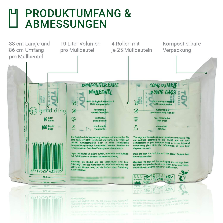 100/% biologisch abbaubar /& kompostierbar 10 Liter 100 St/ück mit Tragegriff Kompostierbare Bio M/üllbeutel aus Maisst/ärke F/ür deine Bio-Tonne /& deinen Komposter Goed Ding