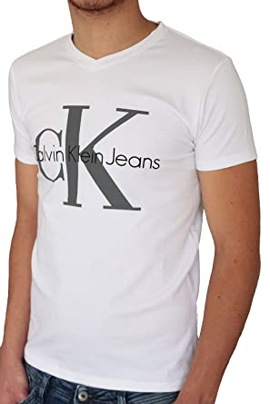 3eb677fbe T-shirt CALVIN KLEIN JEANS homme manches courtes blanc