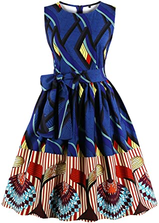 4b45ba6002d6 Ouhuang Plus Size Pop Print Women Vintage Dress O Neck Sleeveless Belts  Retro Swing Rockabilly Dress