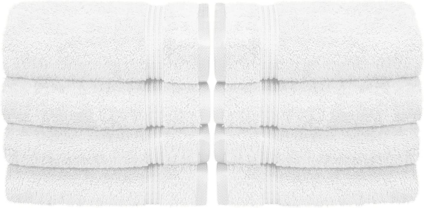 Superior 8 Piece Hand Towel Set Long Staple Combed Cotton White Home Kitchen