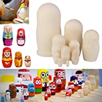 Coomir 10pcs Handmade DIY Blank Wooden Russia Nesting Dolls Gift Russian Nesting Wishing Dolls DIY Craft Matryoshka Traditional