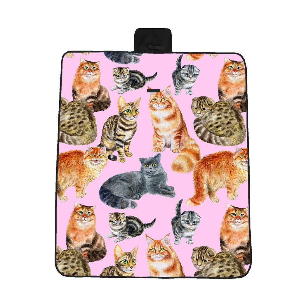 3D Digital Printing Oxford Cloth Picnic Mat Beach Mat Moisture Mat Hand-Painted Cat Foldable Outdoor Camping Mat (A)