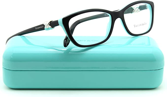 Amazon Com Tiffany Co Tf 2074 Women Cat Eye Eyeglasses Rx Able Frame Top Black Blue 8055 54 Clothing