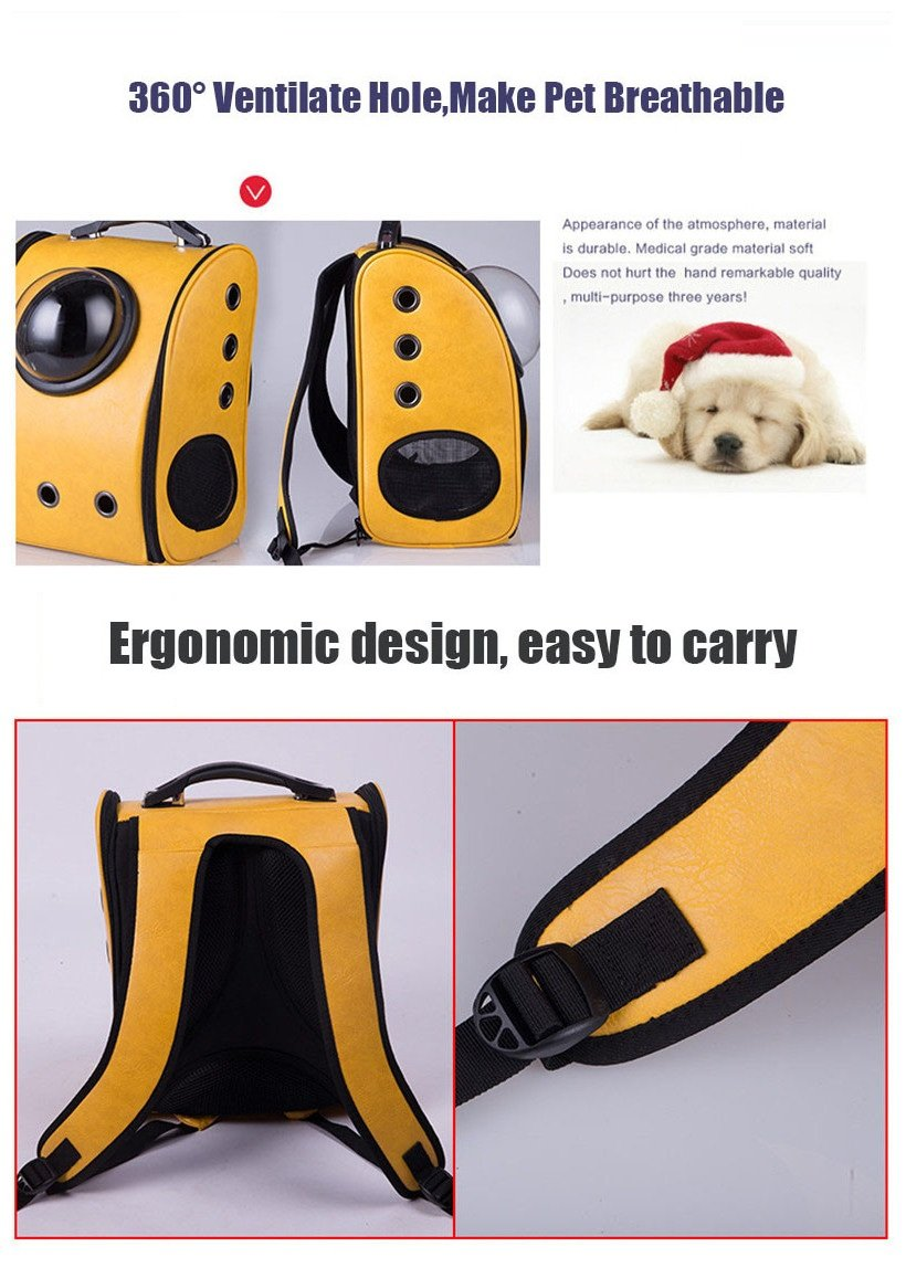 Geekercity Pet Carrier Backpack Bag for Small Little Dogs Cats, Portable Plastic Innovative Space Capsule Astronaut Travel Bubble Box for Puppy Kitten (Yellow)