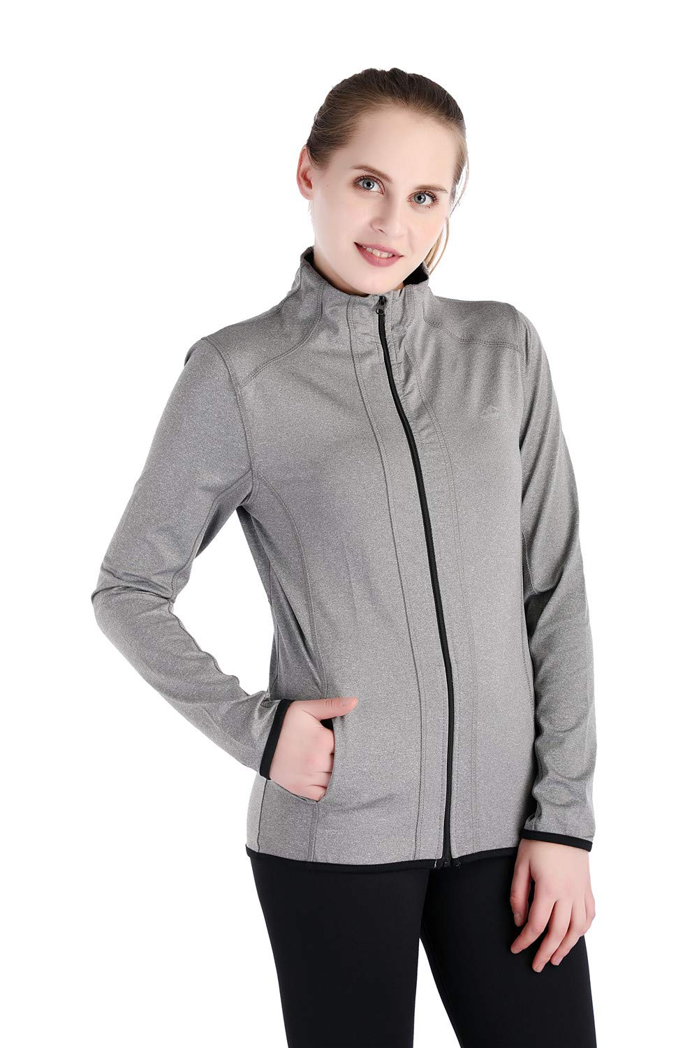 Dolcevida Women's Full Zip Long Sleeves Running Activewear Yoga Track Jackets (Grey, M)