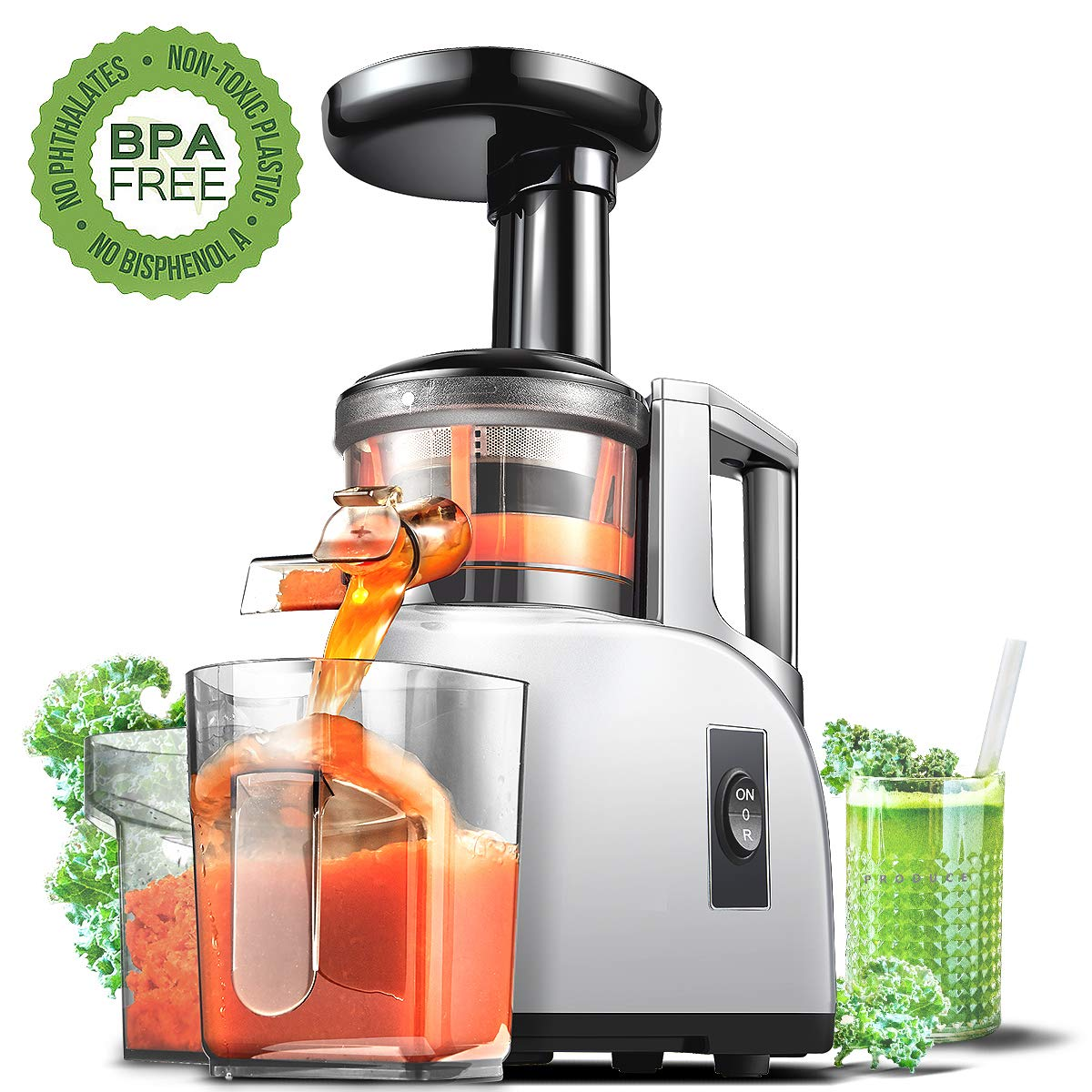 Slow Juicer AMZCHEF Slow Masticating Juicer Extractor Slow Cold Press Juicer Machine Quiet Motor Reverse Function Portable Handle Brush&Vegetable Fruit Juice Jugs BPA Free 55RPM by AMZCHEF