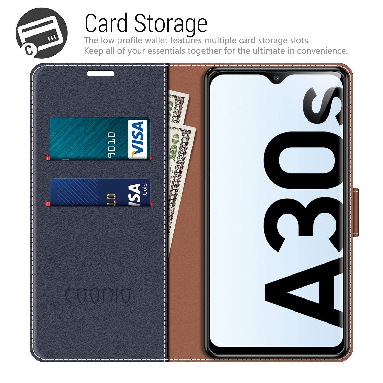 COODIO Funda Samsung Galaxy A30s con Tapa Azul Oscuro//Rojo Funda Libro Galaxy A30s Carcasa Magn/ético Funda para Samsung Galaxy A30s // A50s Funda Movil Samsung A30s