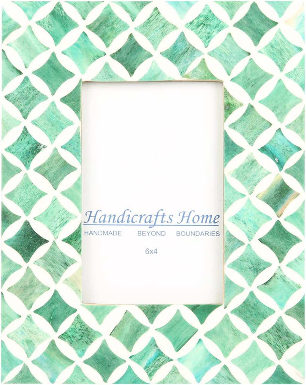 Handicrafts Home 4x6 Photo Frame Green White Bone Mosaic Moroccan Picture Frames