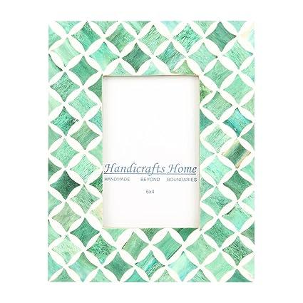 Amazon Com Handicrafts Home 4x6 Photo Frame Green White Bone