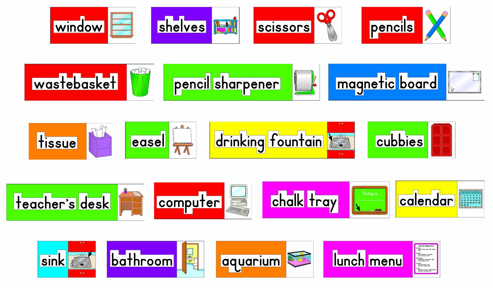 Carson Dellosa Four Blocks Print-Rich Classroom Labels Bulletin Board Set (3266)