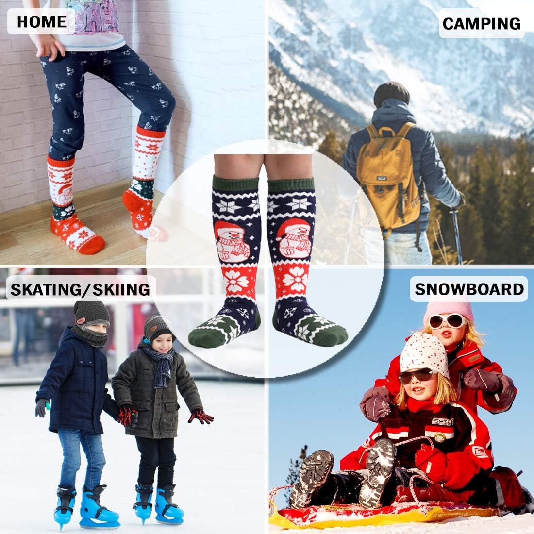 T WILKER 2Pair Kids Ski Socks Wool Warm and Soft Winter Socks,Snow Socks,Over The Calf Christmas Socks for Toddler Boys/&Girls