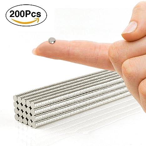 Patzbuch - Mini imanes Redondos, 200 Unidades, Multiusos, magnéticos, para Puerta de frigorífico, Pizarra, Mapa, Puerta, tableros de boletines, 3 x 1 ...