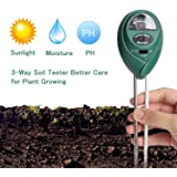 Soil pH Meter (No Battery Needed), Reayouth Soil Moisture Meter,3 in 1 Soil Test Kit Gardening Tools for PH, Light & Moisture, Plant Tester for Home, Farm, Lawn, Indoor&Outdoor Plant Care Soil Tester