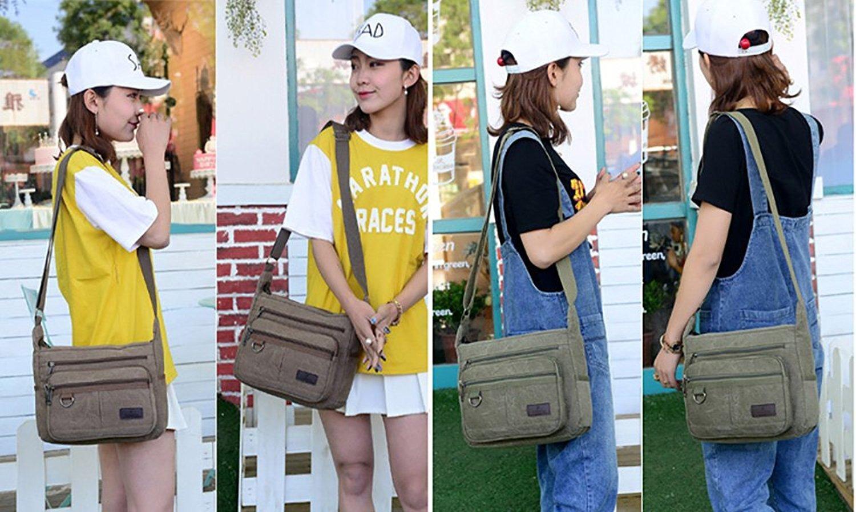 Mfeo Vintage Retro Canvas Shoulder Bag Multi Pocket Cross-body Messenger Bag (Canvas - Coffee) by Mfeo (Image #4)