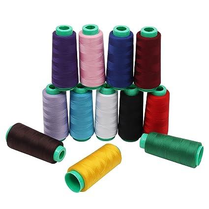 Hilo de coser / Hilo de Poliéster -Hilos maquina coser 12 pezzi ...