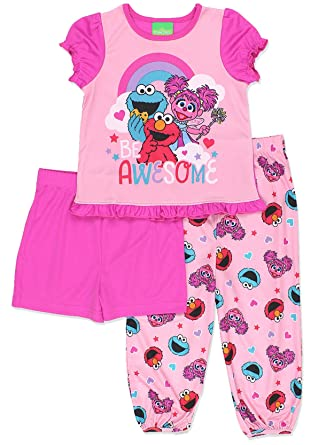 801d49a2ac Amazon.com  Sesame Street Girls 3 piece Pajamas Set (Toddler)  Clothing