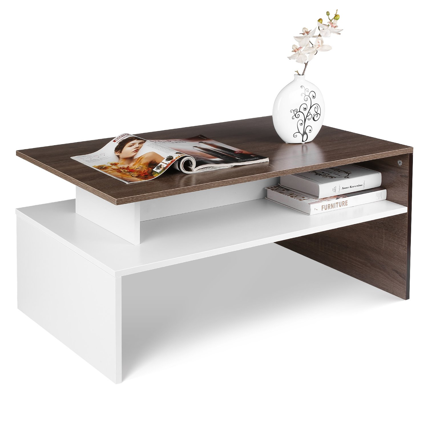 HOMFA Modern Console Table Coffee Table 2-Tier Rectangular Storage Open  Shelf Table for Living Room Sitting Room Home Furniture — Catalog Furniture