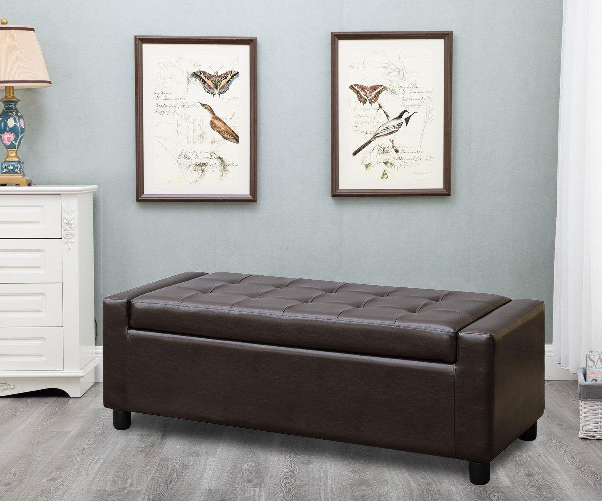 Harper Bright Design 52-inch Rectangular Storage Ottoman Tufted Bench Footrest Seat Large (Brown)