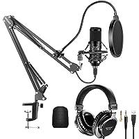 NEEWER Kit Micrófono USB Cápsula Grande 25mm Micrófono Condensador Plug y Play 192 kHz/24 bit(Negro) con Auriculares con…