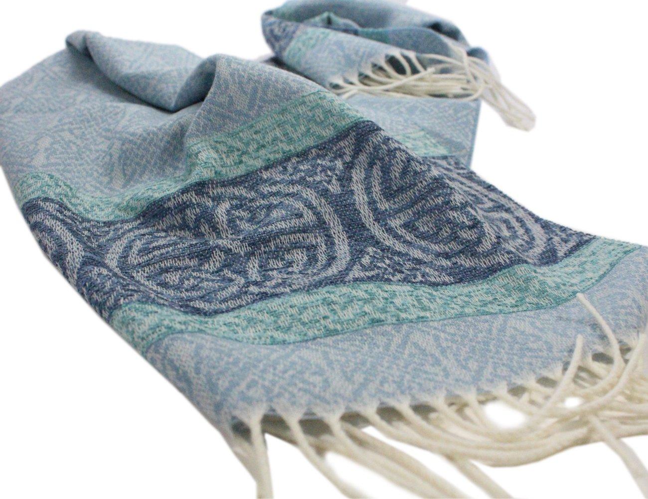 "Celtic Scarf Wool & Chenille 70"" x 14"" Loch Blue from Scotland"