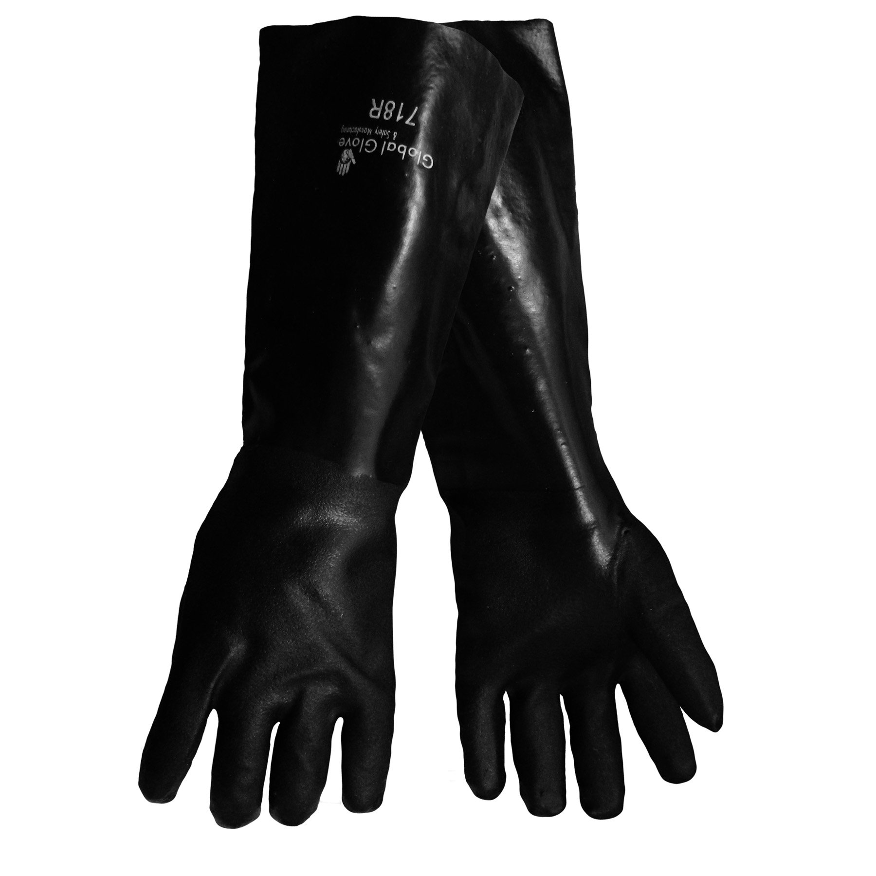 Global Glove 700 FrogWear PVC Jersey Lined Premium Glove with Knit Wrist Cuff, Chemical Resistent, Elbow Length, Extra Large, Black (Case of 72)