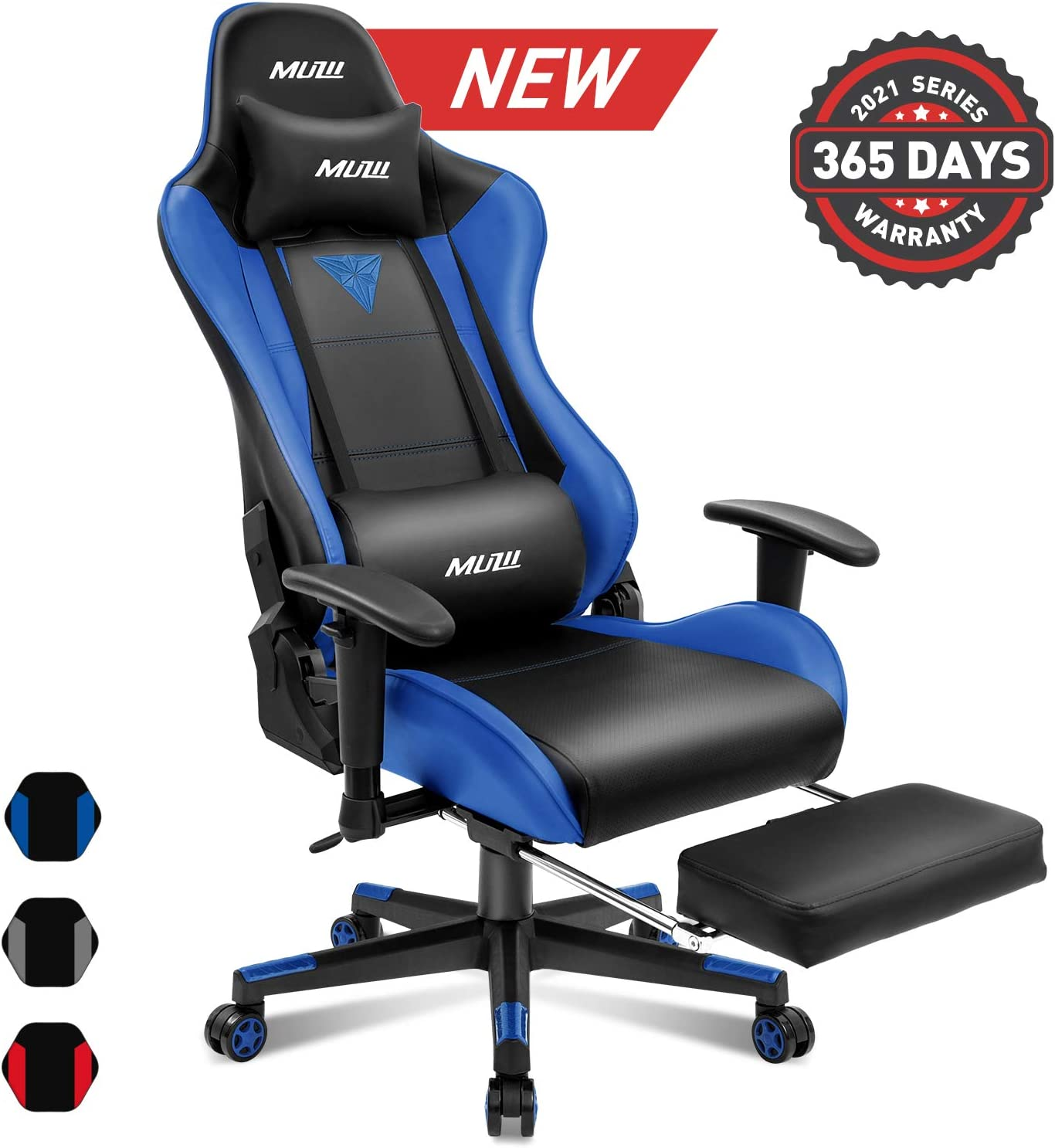 Muzii Gaming Chair with Footrest, High-Back PU Leather Office Chair with Headrest and Adjustable Lumbar Support,Ergonomic Computer Swivel Chair for Teens and Adults-Blue(001)