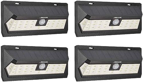 Mr Beams Solar Wedge Max 30 LED Security Motion Sensor Wall Light, 4-Pack, Black