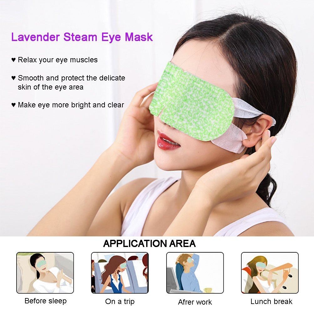 BestFire Hot Steam Eye Mask Warm Eye Patch Steam Eye SPA Mask Relieve Eye Tiredness Remove Eye Dark Circles,Lavender Fragrance- 2 Packs(10 Pcs) by BestFire® (Image #5)