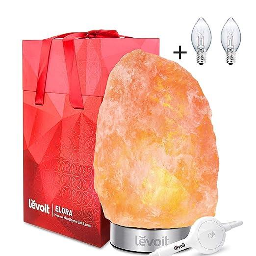 LEVOIT Elora Lámpara de Sal Natural del Himalaya Tallado a Mano de Brillo Natural de Color Naranja (3~5 kg), Base de Acero Inoxidable, Control Táctil de Brillo, 2 x Bombilla 15W, con Caja de Regalo [Clase de eficiencia energética A+++]