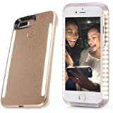Rasse Selfie LED Case Cover for 4.7 inch Iphone 6 6s 7 with Front and Back LED Rechargeable Backup Gold