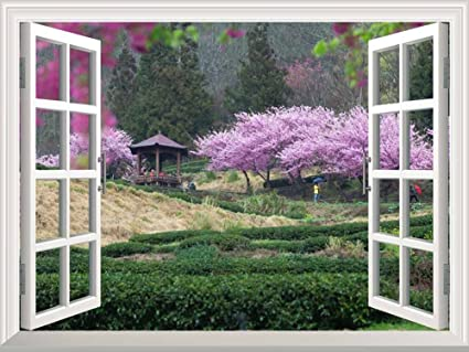Wall26 Modern White Window Looking Out Into A Japanese Garden With Cherry  Blossom Trees And A