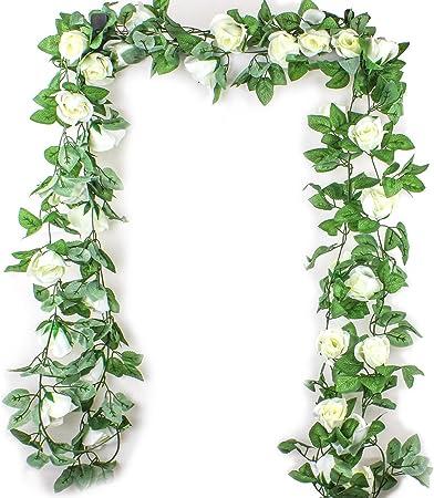 Ezeso - Guirnalda de flores artificiales con hojas verdes para decoración de boda, fiesta, jardín, pared de San Valentín, Blanco, 2 unidades: Amazon.es: Hogar
