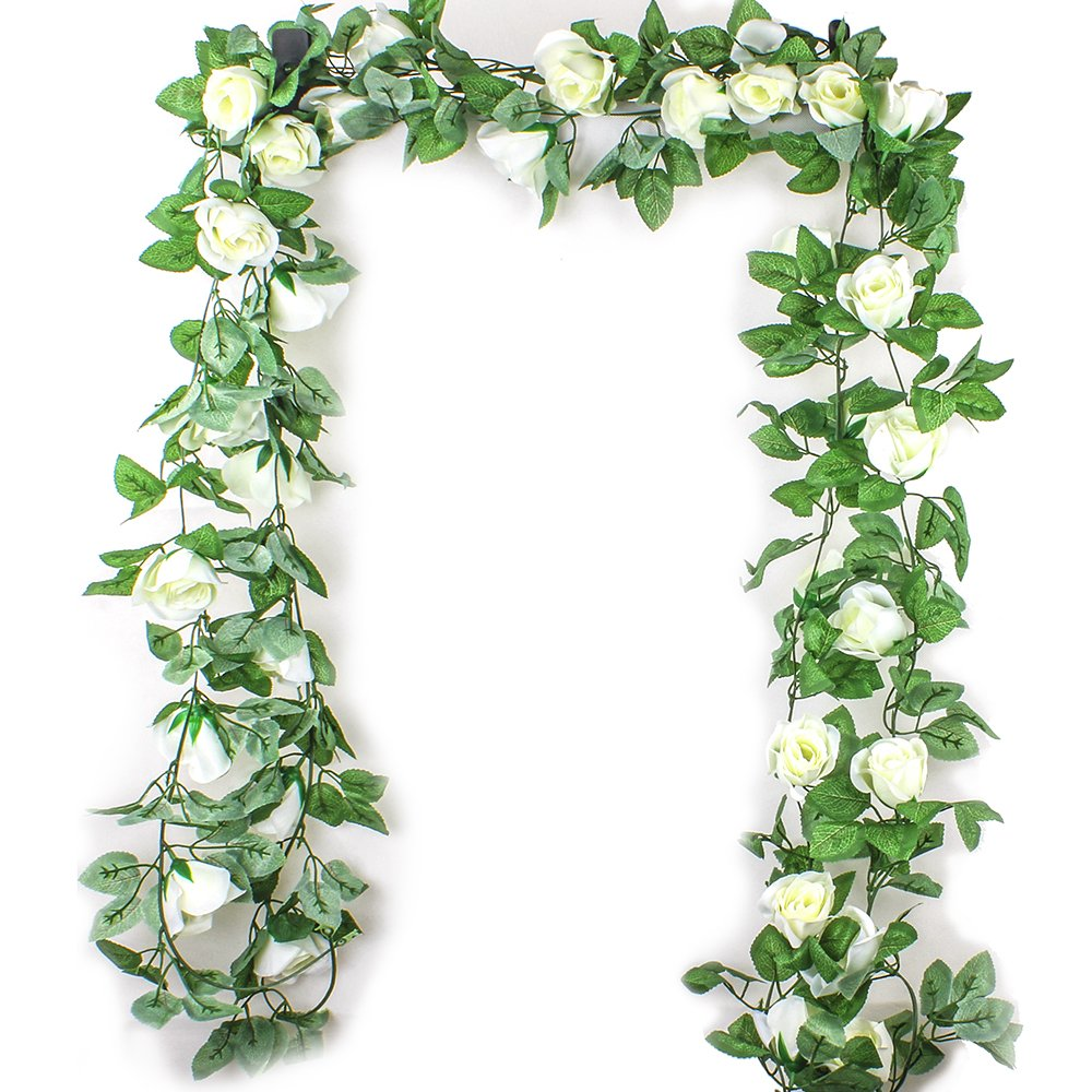 EZESO 7.5FT Artificial Flower Rose Garland Vine with Green Leaves Fake Hanging Plant Flower Garland For Wedding Party Garden Wall Valentine Decoration (White, 2 pack)