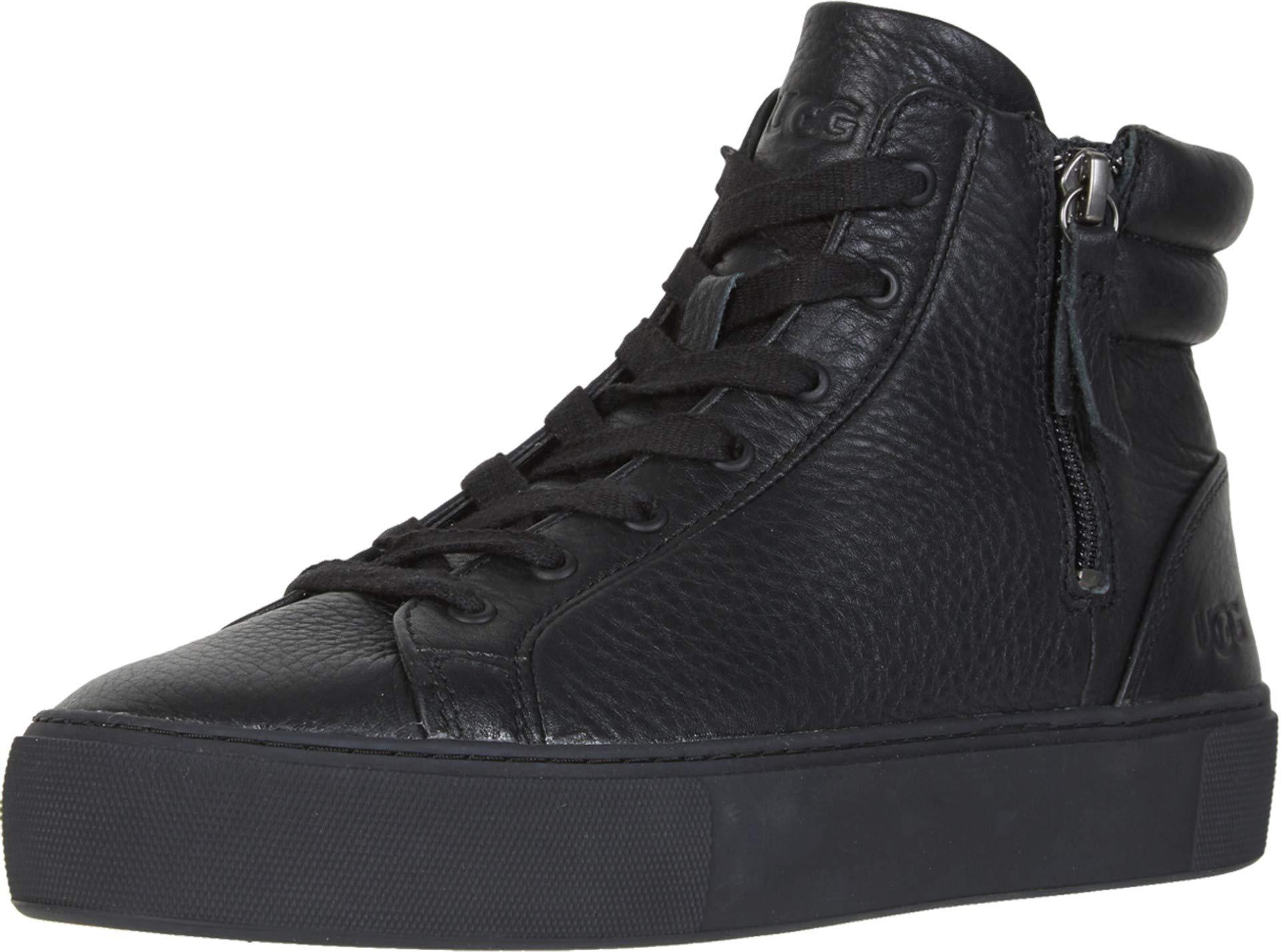UGG Women's OLLI Sneaker, Black Leather, 7.5 M US