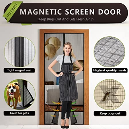 Magnetic Fly Screen Door, Flagicon Auto Shut Mesh Curtain Heavy Duty Fly  Mesh Screen Top