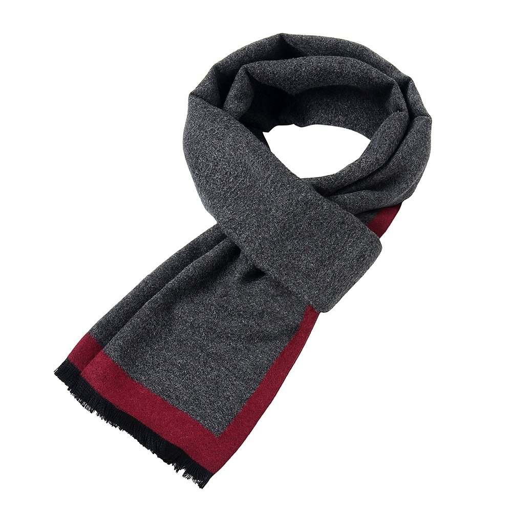 Mens Soft Scarf For Autumn And Winter,Simple And Elegant Long Thick Plush Scarf (Gray-Black) (Gray-Blue) (Red-Gray)