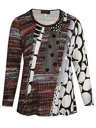 d33e04c2c033f5 Sempre Piu XXL Langarm T-Shirt Tunika Oberteile für Mollige Damen Übergröße  Stretch Grau Bunt  Amazon.de  Bekleidung