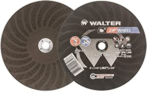 """Walter Surface Technologies 11T052 ZIP Wheel High Performance Cutoff Wheel, Type 1, Round Hole, Aluminum Oxide, 5"""" Diameter, 3/64"""" Thick, 7/8"""" Arbor, Grit A60ZIP (Pack of 25)"""