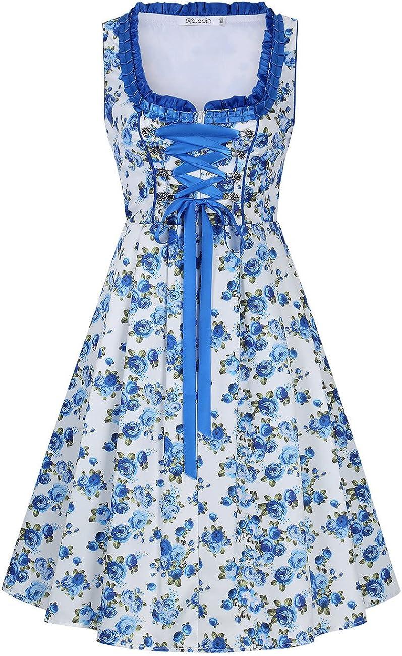 DREI Teilig: Kleid Midi Trachtenkleid f/ür Oktoberfest Bluse Sch/ürze(Verpackung MEHRWEG) KOJOOIN Trachten Damen Dirndl Kurz