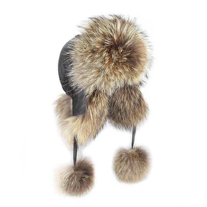 OBC Donna PROCIONE berretto bomber aviatore cappello di pelliccia pelliccia  di Inverno Cappello aviatore Cap Cappello 0f7a974a0b59