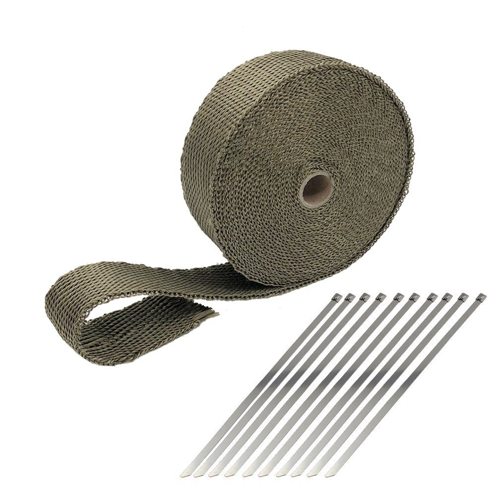 Ucreative Titanium Lava Fiber 2' x 100' Exhaust Header Wrap Kit with 20pcs 11.8 Inch Stainless Locking Ties HANGZHOU HESHA TRADE CO. LTD
