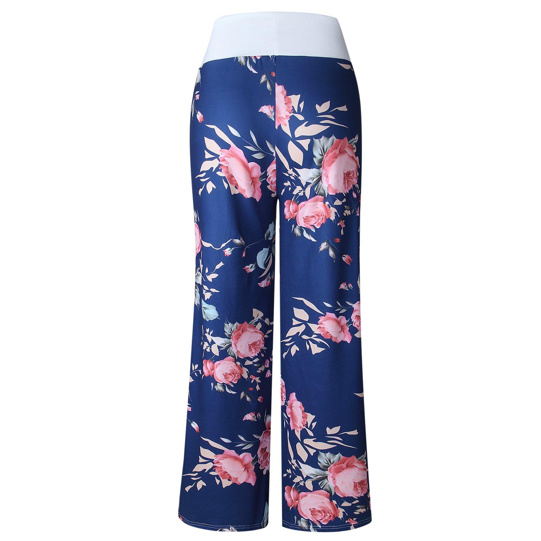 iChunhua Women's Comfy Stretch Floral Print Drawstring Palazzo Wide Leg Lounge Pants(M,Blue) by iChunhua (Image #4)