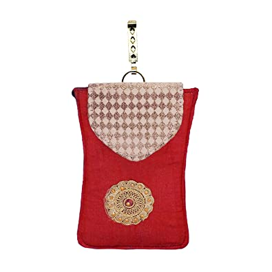 cd678174eba Bagaholics Ethnic Raw Silk Saree Clutch Mobile Pouch with Waist Clip Ladies  Purse Gift For Women