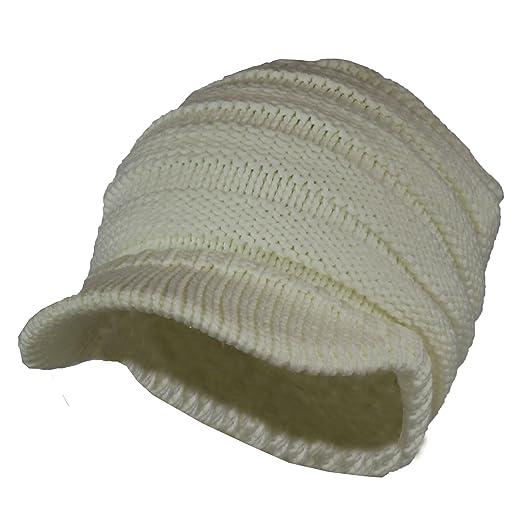 4346cb289 Folie Co. Warm Cable Ribbed Knit Beanie Hat w/Visor Brim – Chunky Winter  Skully Cap